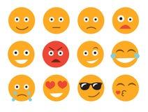 Ilustração do vetor do Emoticon Ajuste a cara do emoticon em um fundo branco Coleção diferente das emoções Foto de Stock