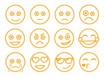 Ilustração do vetor do Emoticon Ajuste a cara do emoticon em um fundo branco Linha estilo das emoções da coleção Collecti diferen Imagens de Stock
