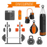 Ilustração do vetor do equipamento do gym Estilo liso Fotografia de Stock