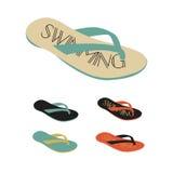 A ilustração do vetor do equipamento profissional da natação ajustou-se no fl Imagem de Stock