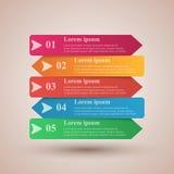 Ilustração do vetor do estilo do origâmi da caixa de Infographics do negócio Lista de 10 artigos Fotos de Stock Royalty Free