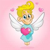 Ilustração do vetor do estilo dos desenhos animados do anjo do cupido de Valentine Day Fotos de Stock