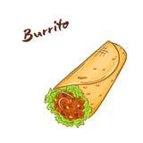Ilustração do vetor do fast food tirado mão dos desenhos animados burrito Fotografia de Stock