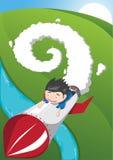 Ilustração do vetor do foguete da equitação do rapaz pequeno Imagem de Stock