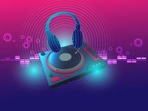 Ilustração do vetor do fundo da plataforma giratória do fones de ouvido e do DJ Fotos de Stock