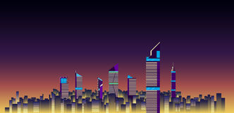 Ilustração do vetor do fundo das skylines da cidade construção lisa da cidade Fotos de Stock Royalty Free