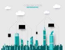 Ilustração do vetor do fundo das skylines da cidade construção lisa da cidade Imagem de Stock