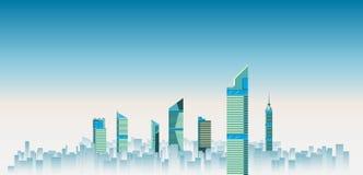 Ilustração do vetor do fundo das skylines da cidade construção lisa da cidade Fotografia de Stock