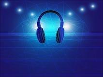 Ilustração do vetor do fundo do techno do fones de ouvido Fotografia de Stock