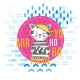 Ilustração do vetor do gatinho do pirata Foto de Stock