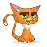 Ilustração do vetor do gato do gengibre dos desenhos animados O vermelho bonito descascou o gato com uma expressão mal-humorada Foto de Stock Royalty Free