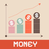 Ilustração do vetor do gráfico do dinheiro Fotografia de Stock