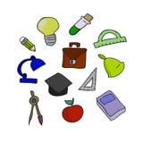 Ilustração do vetor do grupo da escola Mão-afogue o esboço dos objetos Sc Imagens de Stock Royalty Free