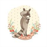 Ilustração do vetor do guaxinim bonito Fotografia de Stock Royalty Free