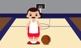 Ilustração do vetor do jogador de basquetebol do campo de básquete Fotos de Stock