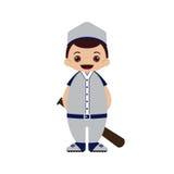 Ilustração do vetor do jogador de beisebol dos desenhos animados Imagens de Stock