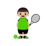 Ilustração do vetor do jogador de tênis dos desenhos animados Fotos de Stock