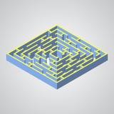 Ilustração do vetor do labirinto Labirinto isométrico Fotos de Stock Royalty Free
