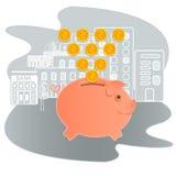 Ilustração do vetor do mealheiro Economia do ícone ou acumulação de dinheiro Mealheiro do ícone em um estilo liso, isolado O conc Foto de Stock Royalty Free