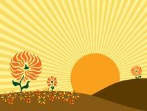 Ilustração do vetor do nascer do sol do outono Imagens de Stock Royalty Free