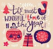 Ilustração do vetor do Natal com decorações Imagem de Stock Royalty Free