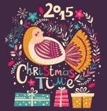Ilustração do vetor do Natal com pássaro Foto de Stock Royalty Free
