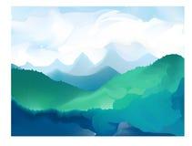 Ilustração do vetor do panorama de cumes da montanha Imagens de Stock Royalty Free