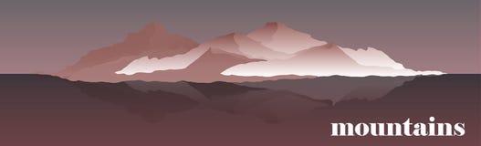 Ilustração do vetor do panorama de cumes da montanha Alpinismo e ilustração de viagem do vetor Paisagem com Imagens de Stock