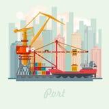 Ilustração do vetor do porto marítimo Paisagem urbana Navio do oceano Conceito do transporte ilustração stock