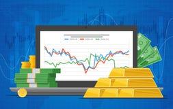 Ilustração do vetor do preço do ouro no estilo liso Carta conservada em estoque na tela do portátil Foto de Stock Royalty Free