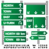 Ilustração do vetor do sinal de estrada Sinal verde vazio na maneira alta Fotografia de Stock Royalty Free