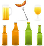 Ilustração do vetor do vidro e da salsicha de frasco da cerveja Imagens de Stock
