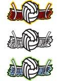 Ilustração do vetor do voleibol e da rede Foto de Stock Royalty Free