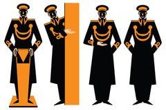 Ilustração do vetor doorman O homem sob a forma de fazer um gesto de convite ilustração stock