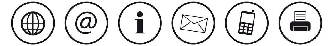 Ilustração do vetor dos ícones do contato no fundo branco ilustração royalty free