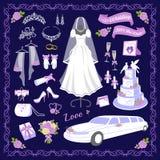 Ilustração do vetor dos ícones do estilo dos desenhos animados do casamento ilustração stock