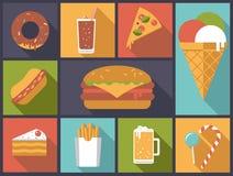 Ilustração do vetor dos ícones do fast food Fotos de Stock