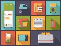 Ilustração do vetor dos ícones dos dispositivos de cozinha Imagens de Stock