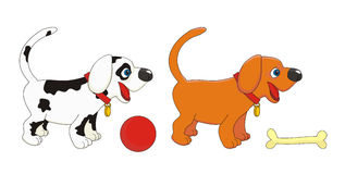 Ilustração do vetor dos cães pequenos dos filhotes de cachorro Imagens de Stock