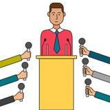 Ilustração do vetor dos desenhos animados da conferência de imprensa Fotos de Stock