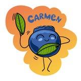 Ilustração do vetor dos desenhos animados da dança engraçada de Berry Fruits Food Comic Character Carmen do mirtilo ilustração royalty free