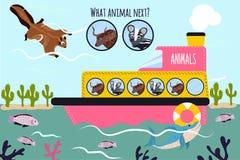 A ilustração do vetor dos desenhos animados da educação continuará a série lógica de animais coloridos em um barco no oceano entr Fotografia de Stock
