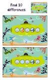A ilustração do vetor dos desenhos animados da educação para encontrar 10 diferenças no ilustrações criança-amigáveis coloridas,  Imagem de Stock