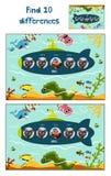 A ilustração do vetor dos desenhos animados da educação para encontrar 10 diferenças no ilustrações criança-amigáveis coloridas,  Imagens de Stock Royalty Free