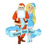 Ilustração do vetor dos desenhos animados da menina 'sexy' loura com Papai Noel Convite do ano novo Isolado Imagem de Stock