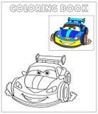 Ilustração do vetor dos desenhos animados de carros preto e branco Fotografia de Stock Royalty Free