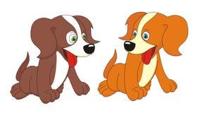 Ilustração do vetor dos desenhos animados de dois cães Fotos de Stock