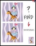 A ilustração do vetor dos desenhos animados de encontra as diferenças Imagens de Stock