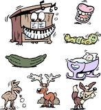 Ilustração do vetor dos desenhos animados de um grupo de desenhos e de ícones engraçados de Clipart Fotografia de Stock Royalty Free