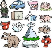 Ilustração do vetor dos desenhos animados de um grupo de pequeno engraçado Foto de Stock